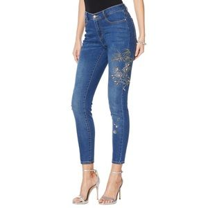 G by Giuliana Pink Embellished Skinny Blue Jeans